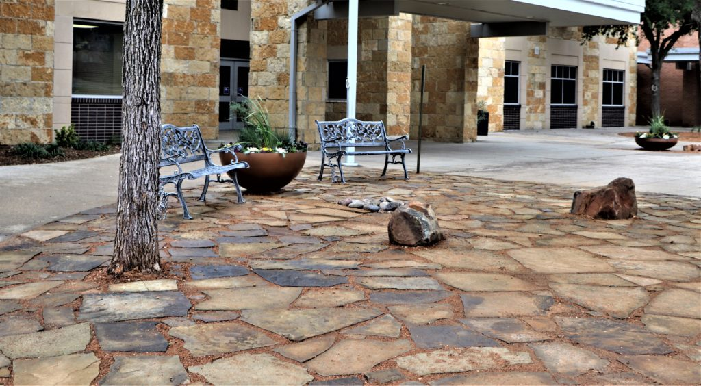 California flagstone sitting area