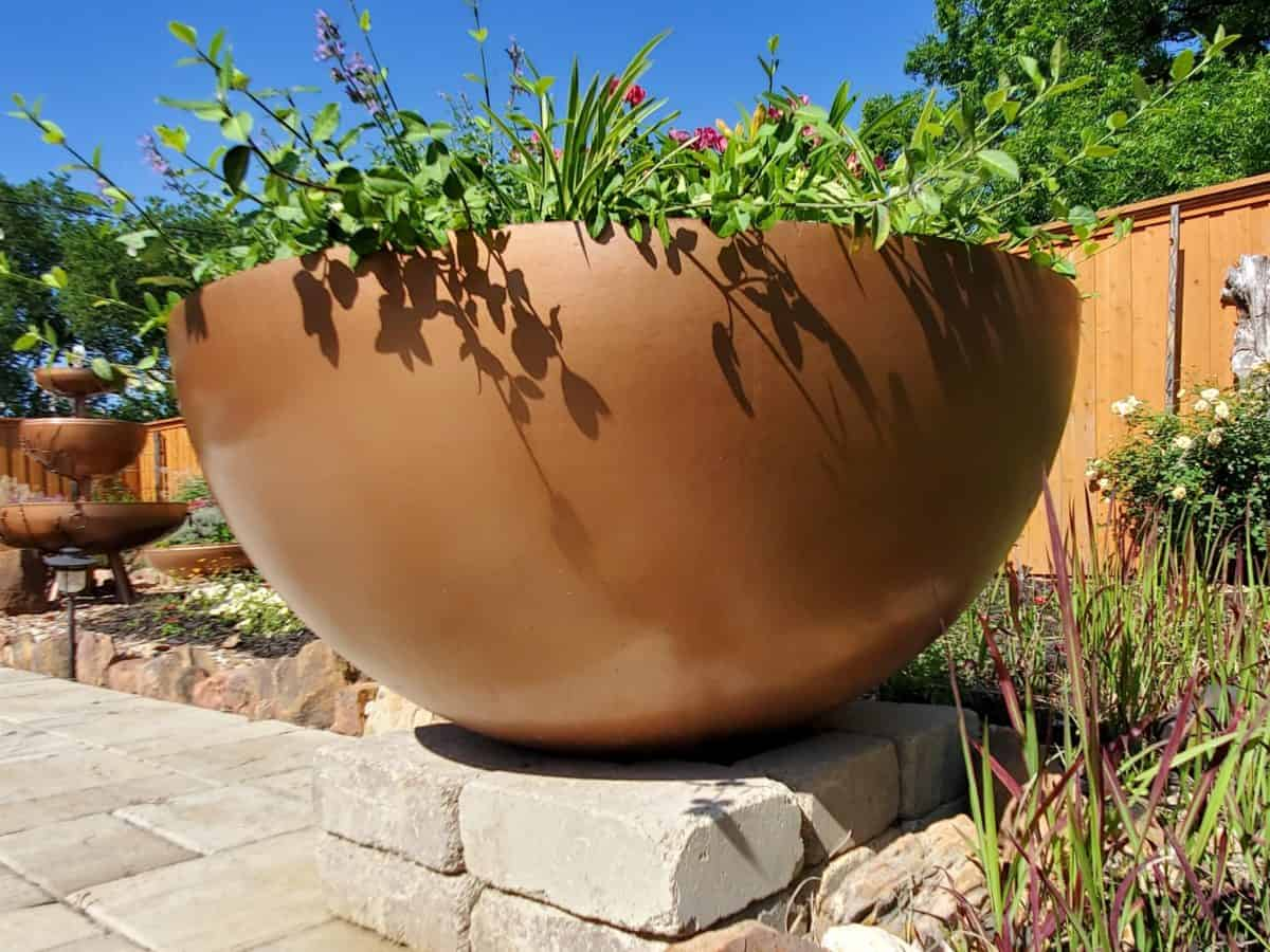 Commercial steel planter.
