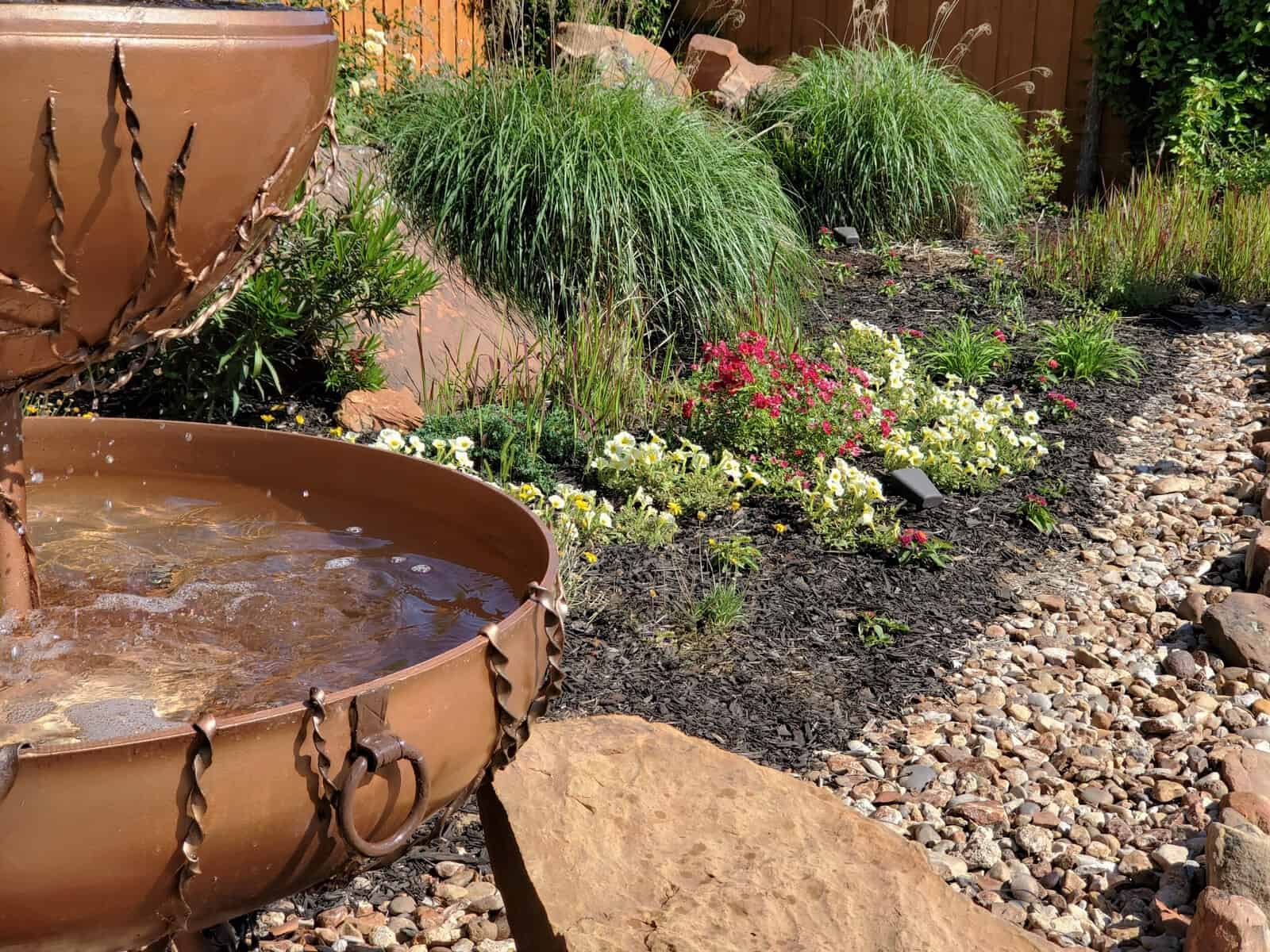 Combine hardscape and softscape elements to landscape large commercial properties