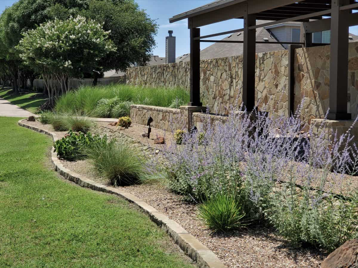 Retaining wall and river rock