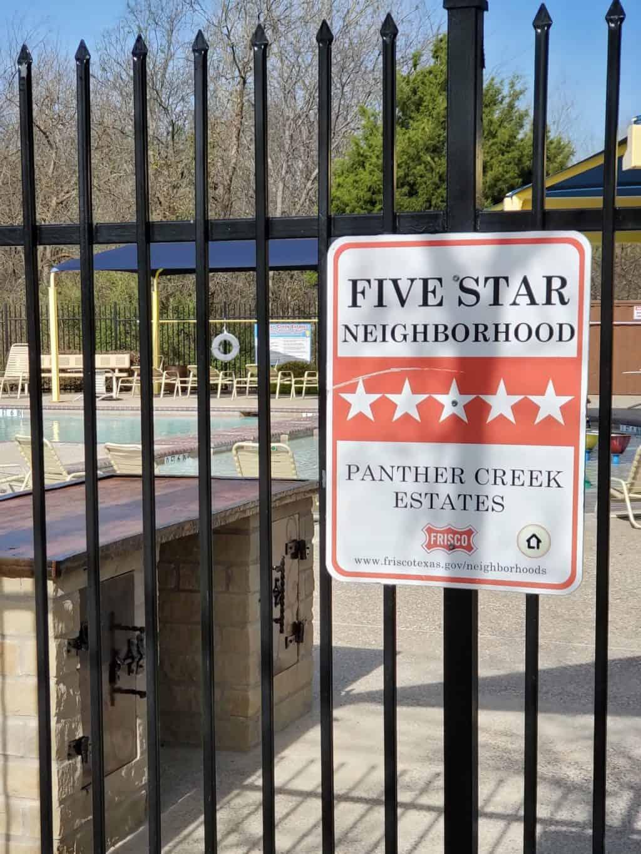 Panther Creek five star neighborhood sign
